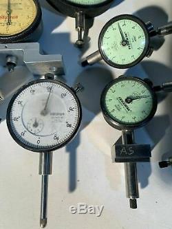 18 PCS STARRETT/FEDERAL/MITUTOYO/COMPAC Dial Indicator Lot C5M B2Q E3BS-R1 A3Q