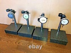 Granite Indicator Stands 6 X 6 Qty 4 Indicators Mitutoyo Starrett Teclock