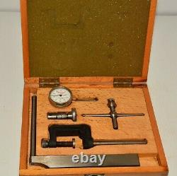 L S Starrett Dial Indicator Gauge & Accessories Good Fitted Wooden Box 1/1000