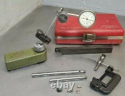 Mitutoyo No. 7024 magnetic base with Starrett No. 196 dial indicator set U. S. A