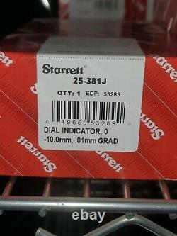 New Starrett Metric Dial Indicator Lug Back 0-10mm Range / 0.01mm Graduation