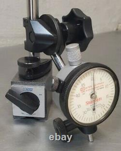 Noga No. PH6400 magnetic base with Starrett No. 81-245.125 dial indicator