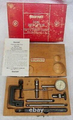 STARRETT 196A Universal DIAL INDICATOR SET Vtg Machinist Tool WOOD CASE & BOX