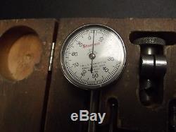 STARRETT 196A1Z Plung Back Dial Test Indicator Set Original Wooden Case