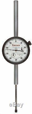 STARRETT 25-3041J Dial Indicator, Long Range, 0.375 Stem Dia