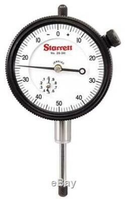 STARRETT 25-341J Dial Indicator, 0 to 1 In, 0-50-0