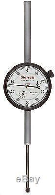 STARRETT 25-5041J Dial Indicator, Long Range, 0.375 Stem Dia