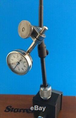STARRETT 657 MAGNETIC BASE WITH No. 196 dial indicator Original wood box