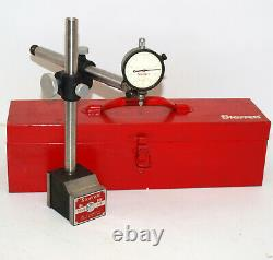 STARRETT 658 HEAVY DUTY MAGNETIC BASE with DIAL INDICATOR and METAL STORAGE CASE