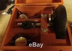 STARRETT Dial Indicators 25-131 & 25-241 with 654 bench base and wood case