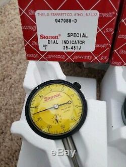 STARRETT Dial Indicators, 25-481J / 25-181J/25-161 Set of 3 Combo. Brand New
