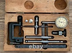 STARRETT NO. 196 DIAL INDICATOR GAUGE SET WithACCESORIES/BOX MACHINIST GAGE TOOL