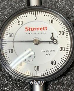 STARRETT No. 25-3041J Dial Indicator. 001 Calibrations 0 to 100 Very NICE