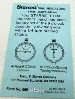 STARRETT S253Z Indicators Set Of 3 in Original Case & Box NM Condition