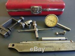 Starrett 196 Universal Back Plunger Dial Indicator with Attachments & Case USA