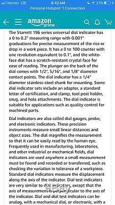 Starrett 196A5Z Universal Dial Test Indicator Kit
