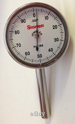 Starrett 196B1 Universal Back Plunger Dial Indicator, 0.200 Range. 001 Gradu