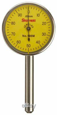 Starrett 196MA1Z Universal Dial Indicator, Back Plunger, Yellow Dial, 0-100 Read