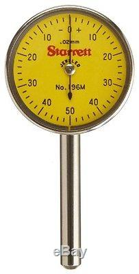 Starrett 196MA5Z Universal Dial Indicator, Back Plunger, Yellow Dial, 0-50-0