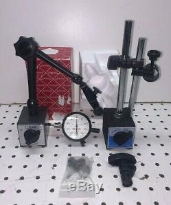 Starrett # 25-241 Jeweled Indicator. 250 Range. 001& Noga MG61003 Magnetic Base