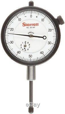 Starrett 25-431J Dial Indicator, 0.375 Stem Dia, Lug-on-Center Back, White