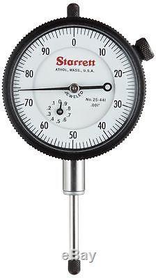 Starrett 25-441J Dial Indicator, 0.375 Stem Dia, Lug-on-Center Back, White