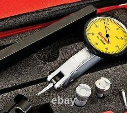 Starrett 3809MAC Dial Test Indicator With Dovetail Mount, 4 Attachments, And 2