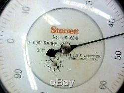 Starrett 6 Dial Indicator 656-6041 with 3-1/2 Face 6 Travel. 001 Graduation