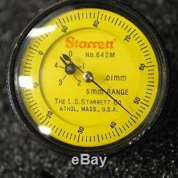 Starrett 642M Top Reading Dial Depth Gauge With Case. Missing Two Adaptors