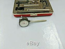 Starrett 645 Universal Dial Indicator, Back Plunger with Attachments, Case & Box
