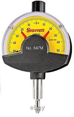 Starrett 647M Dial Comparator Indicator, 0.1 mm Range, 0.001 mm Graduation
