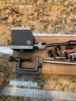 Starrett 657A Magnetic Base & 196 Dial Indicatorx Wood Box, Clamp Brace C509