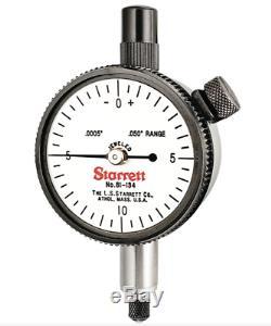 Starrett 81-134J Dial Indicator, 0.050 Range. 0005 Graduation