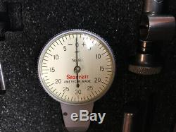Starrett 811-1CZ Dial Test Indicator with Swivel Head in case, white face