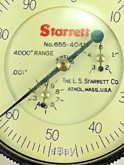 Starrett Beige Dial Indicator Graduation001 0-100 Range 4.000 Model 655-4041