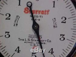 Starrett Bench Gage Model 654 Base with 25-T1 Dial Indicator in Wood Box