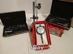 Starrett Dial Indicator 196A6Z, Starrett No. 124 micrometer set, SPI dial with base