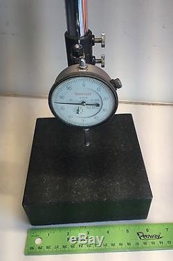 Starrett Dial Indicator No. 655-441 Granite Stand 6x6x2 with 7 1/2 Post