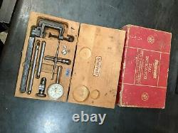 Starrett Dial Indicator set No. 196 Clean in Original Wooden Box Cardboard Cover