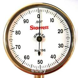 Starrett Dial Test Indicator 0.200 Range 0-100 Dial Reading 0.001 Grad 196A1Z