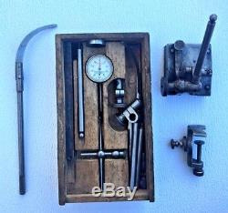 Starrett Dial Test Indicator No 196A Attachments Set Wood Box Vintage