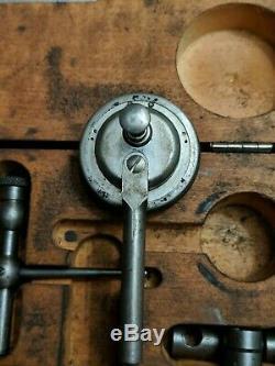 Starrett No 196 Dial Test Indicator Kit Universal Plunger Set Original Wood Box