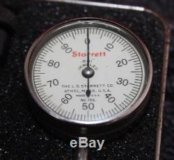 Starrett No. 196 Dial Test Indicator Set in Hard Case 10CHJ