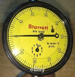 Starrett No. 25-881j Non Shock Dial Indicator 1mm Per Rev Range 25mm 0-100 Dial