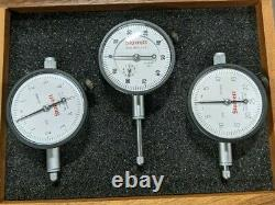 Starrett No. 253 Three Piece Dial Indicator Set With Wood Case