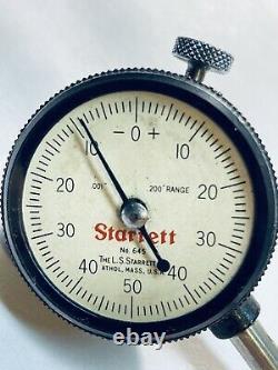 Starrett No. 645 Back Plunger Dial Indicator Set. 200 Travel