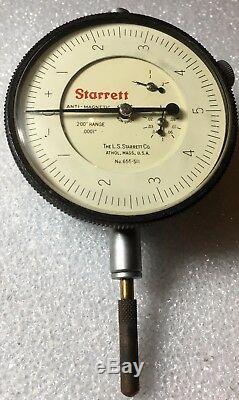 Starrett No. 655-511j Dial Indicator. 20 Range. 0001 Grad 0.010 Per Rev Anti-mag