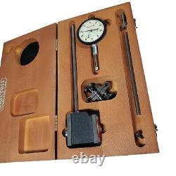 Starrett No. 657 HEAVY DUTY magnetic base with dial indicator No. 25-441 Wood Case