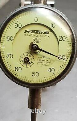 Starrett No. 657AA magnetic base with a Federal 1 dial indicator