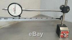 Starrett No. 657D magnetic base with No. 25-131 dial indicator with wooden case